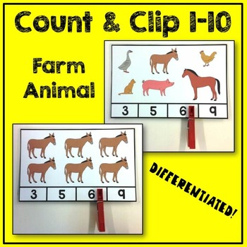 Farm Animal Count and Clip Math Center