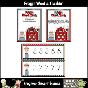 Math Center--Farm Bowling (Number and Number Word Writing)