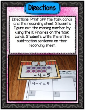 Math Center ~ Flower Subtraction