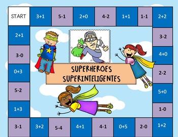 Kindergarten Math Center- Fluently add and subtract within 5- Spanish version