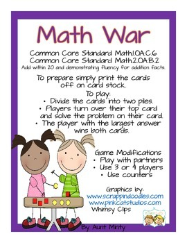 Math Center Game   Addition and Subtraction War   Kinder-3rd grade