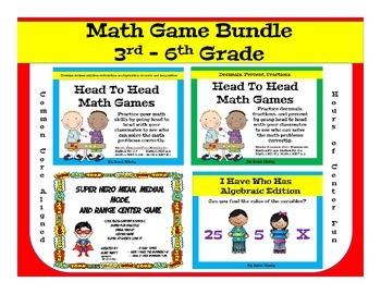 Math Center Game Bundle, Decimals, Fractions, Percent, Variables, Measurement
