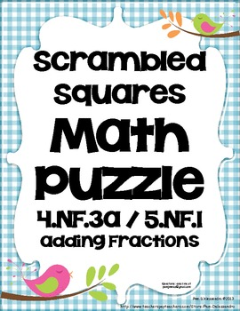 Math Center Game Common Core Aligned 5.NF.1 & 4.NF.3a - Adding Fractions