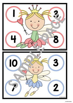 Math Center Game Fairy Princess Bingo for Numbers 1 to 10