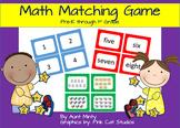 Matching Math Game Kindergarten-1st Grade Math Center Game