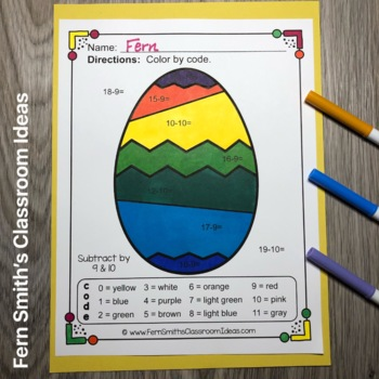 Color By Numbers Funky Easter Eggs Addition and Subtraction