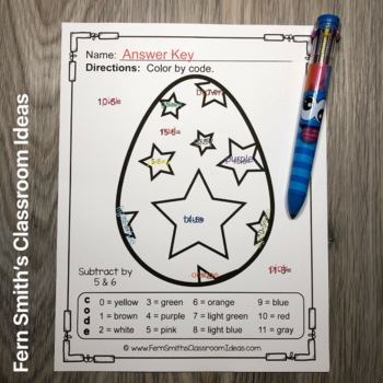 color by numbers funky easter eggs addition and subtraction tpt