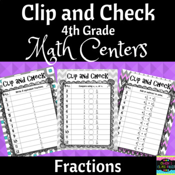 Math Center Games: 4th Grade Fractions Clip and Check 4.NF.5