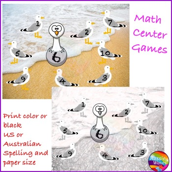 Math Center Games Learning NUMBERS 1-10 RECOGNITION Roll Cover Bump Fun