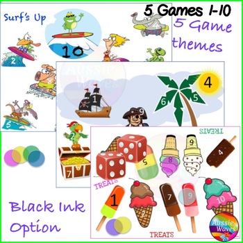 Math Games BUNDLE Numbers 1-10 Roll Cover Bump