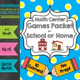 Math Center Games Packet for School or Home (4th Grade) Di