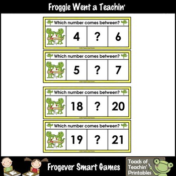 Math Center--Gavin Gator Loves Numbers What Comes Between? Ten Frames & Numbers