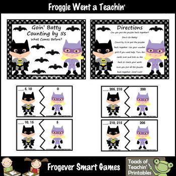 Math Center -- Goin Batty Bundle Counting by 5s (before, after, between)