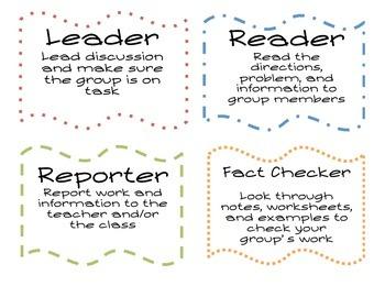 Math Center Group Roles