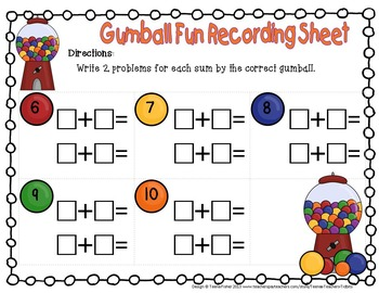 Math Center Gumball Collection Addition Facts