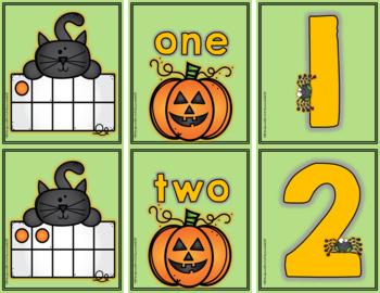 Math Center: Halloween Cat Ten Frame Match-Up