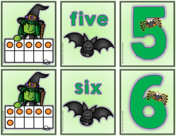 Math Center: Halloween Witch Ten Frame Match-Up