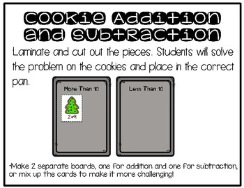 Math Center: Holiday addition/subtraction