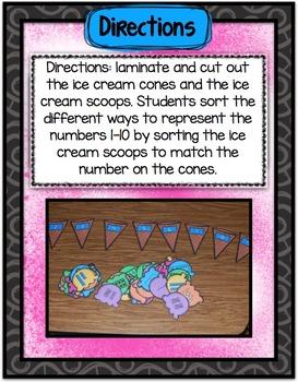 Math Center ~ Ice Cream Numbers