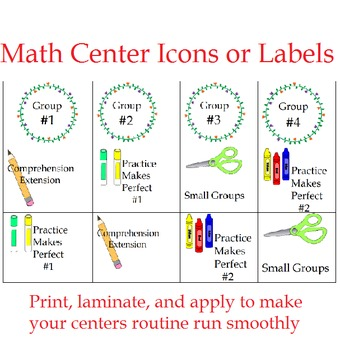 Math Center Icons or Labels