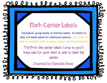 Math Center Labels