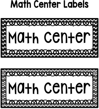 Math Center Labels ~ Colorful Chevron Themed