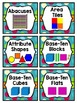 Math Center Labels ~ Dots on Turquoise Themed