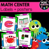 Math Center Labels Sea Animals Editable