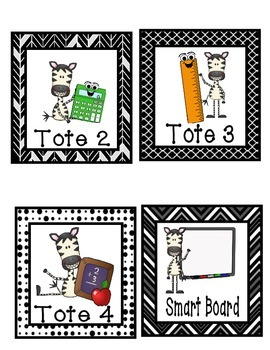 Math Center Labels - Multi Black and White