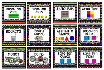 Math Center Labels ~ Rainbow Black Themed