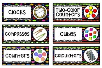 Math Center Labels ~ Rainbow Black Themed