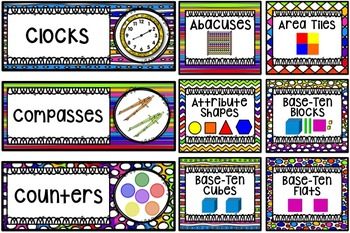 Math Center Labels ~ Rainbow Themed