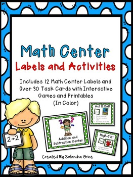 Math Center Labels and Activities