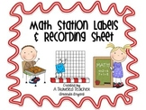 Math Center Labels and Recording Sheet