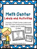 Math Center Labels and Activities-BW