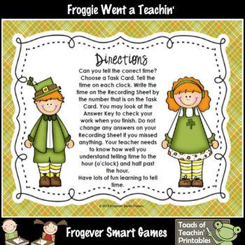 St.Patrick's Day--Leprechaun Kids Fun with QR Codes (OClock/Half Past)