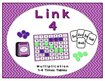Math Center - Link 4: Multiplication Board Game - 1-4 Times Tables