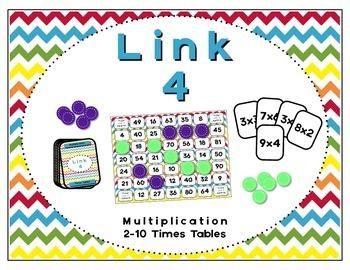Math Center - Link 4: Multiplication Board Game - 2-10 Tim