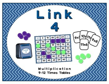 Math Center - Link 4: Multiplication Board Game - 9-12 Times Tables