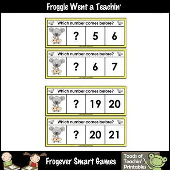 Math Center--Math Down Under What Comes Before? Ten Frames & Numbers