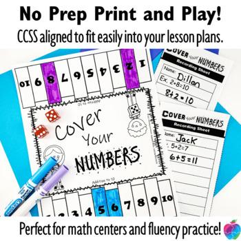 1st Grade Math Center Game - Fluency to 10  - No Prep!