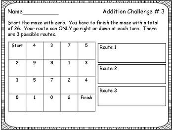 Math Center: Math Mazes with answer keys