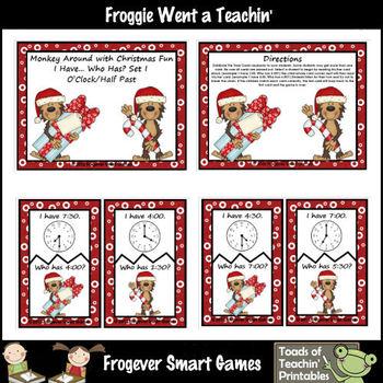 Time--Monkey Around with Christmas Fun Set I (o'clock/half past)