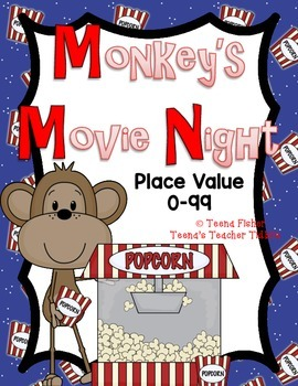 Math Center Monkey's Movie Night Place Value Game