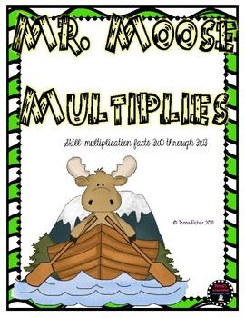 Math Center Mr. Moose Multiplies Multiplication 3 Facts File Folder Game