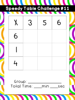 Multiplication Center: Speedy Tables