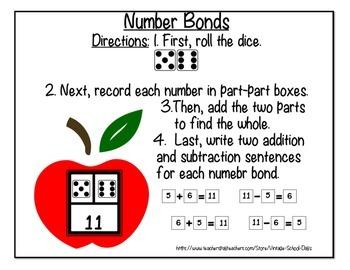 Math Center Number Bonds Fact Families 1st 2nd grade Worksheets Back to School