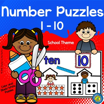 Math Center: Number Puzzles 1 – 10 - Ten Frames and Dice