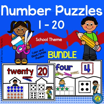 Number Puzzles 1 -  20 - Ten Frames and Dice {BUNDLE}