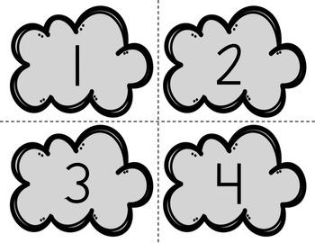 Math Center: Number Sense, Number Sort, Clouds & Raindrops, 0-20
